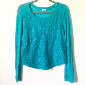 Eyeshadow Teal Lightweight Knit Lace Overlay Top